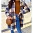 Kép 1/2 - Lyon hosszított, kockás, gyapjú kabát - kék-barna