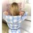 Kép 3/3 - Daisy kockás melegítő szett kapucnival - kék-fehér