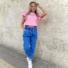 Kép 3/3 - Candy fodros vállú póló - rózsaszín