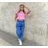 Kép 2/3 - Candy fodros vállú póló - rózsaszín