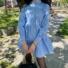 Kép 2/2 - Aspen hosszú ujjú ruha fodorral - kék