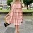Kép 2/3 - Macaron fodros ruha - rózsaszín