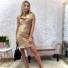 Kép 1/2 - Strap keresztpántos szatén ruha - barna