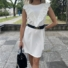 Kép 3/4 - June fodros ruha övvel - fehér