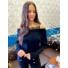 Kép 2/2 - Lace pulóver csipkebetéttel - fekete