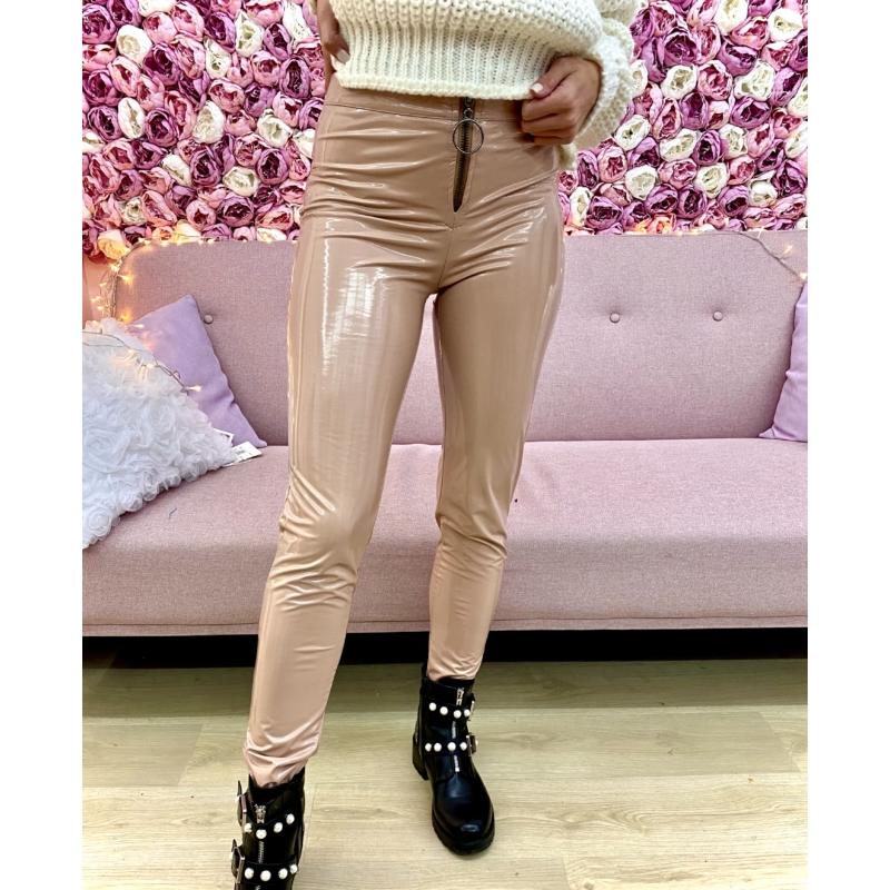 Vynil leggings - puder