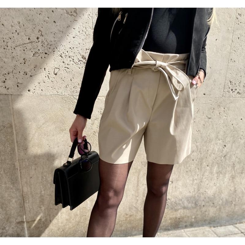Leather bőrhatású rövidnadrág - bézs