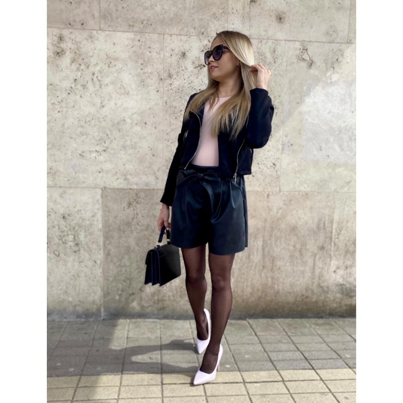 Leather bőrhatású rövidnadrág - fekete