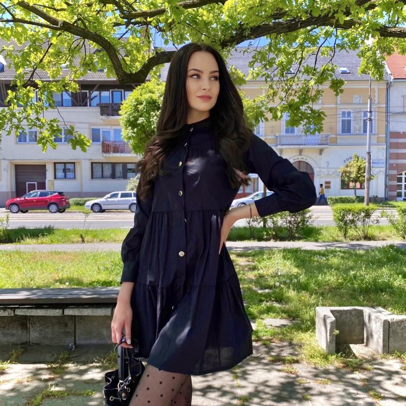 Aspen hosszú ujjú ruha fodorral - fekete