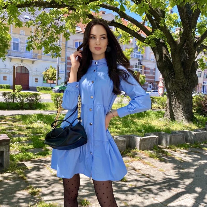 Aspen hosszú ujjú ruha fodorral - kék