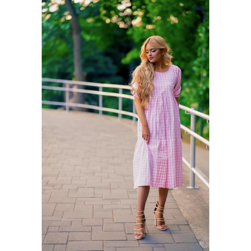 Austin kockás ruha - rózsaszín