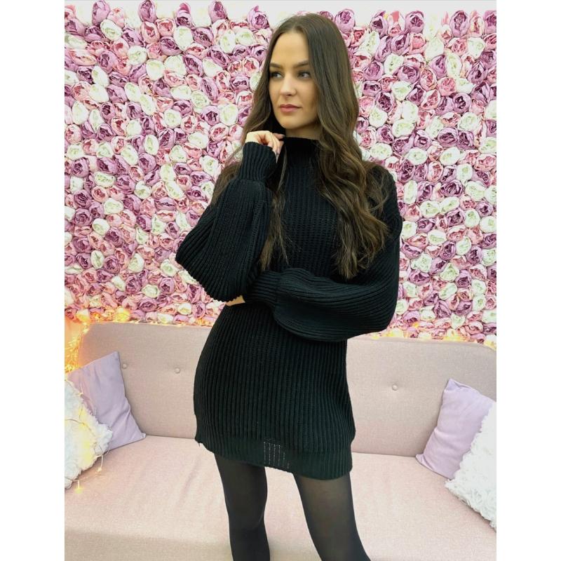 Extra puha kötött ruha - fekete