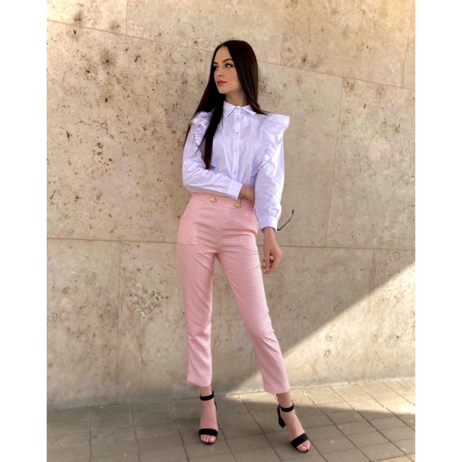 Atlanta apró kockás, vékony anyagú nadrág - rózsaszín-fehér