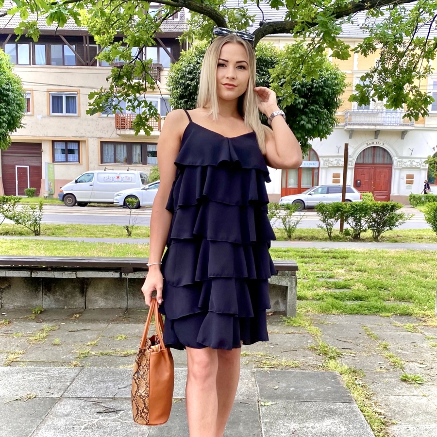 Macaron fodros ruha - fekete