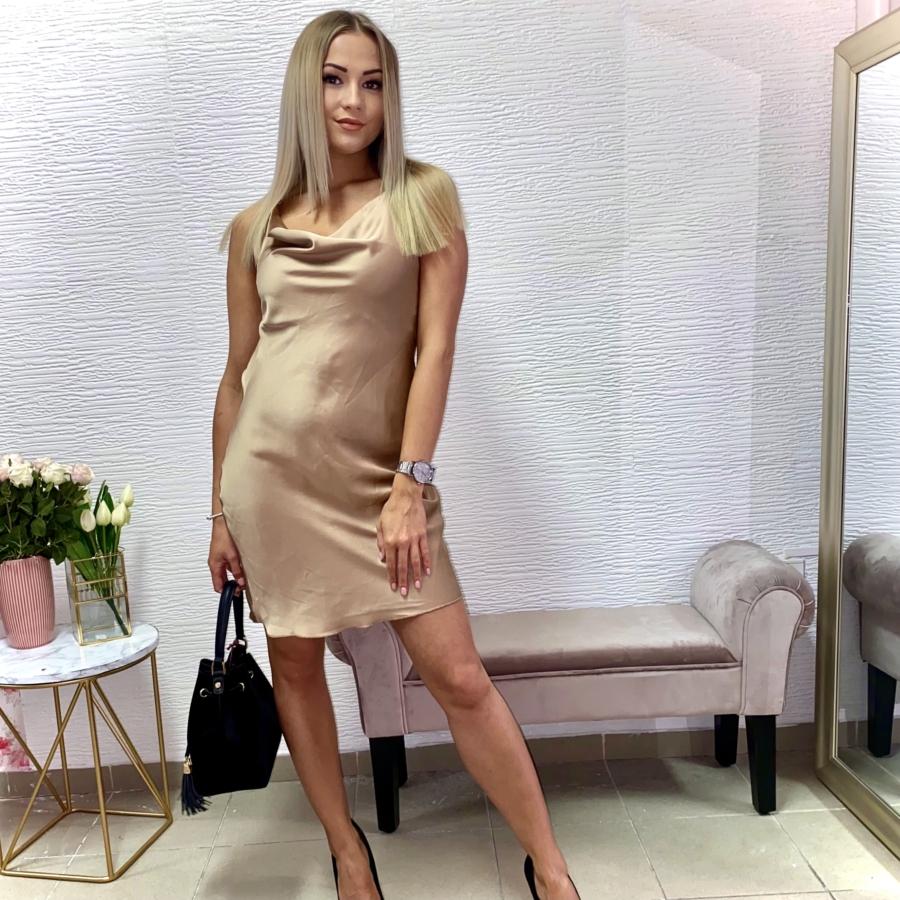 Strap keresztpántos szatén ruha - barna