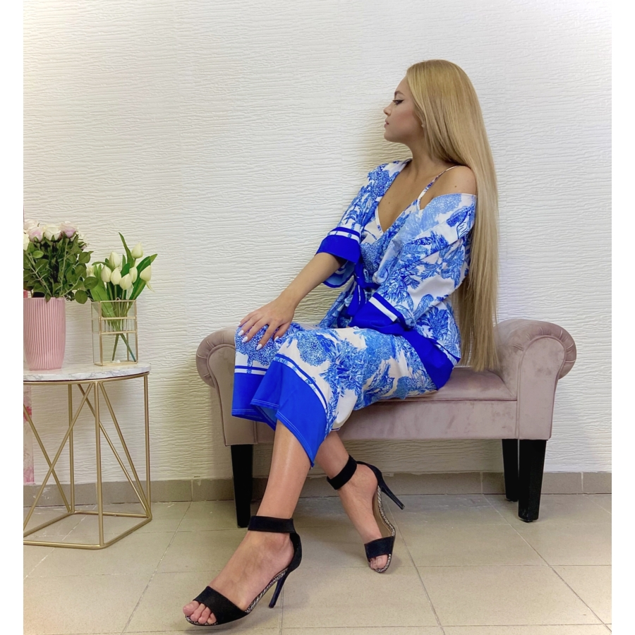 Mykonos szett - kék (nadrág + top + kimonó)