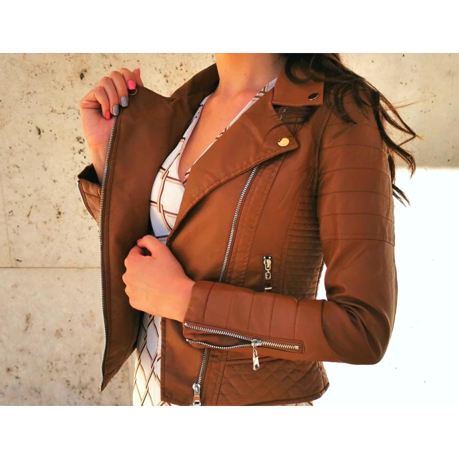 Barna bőrhatású dzseki