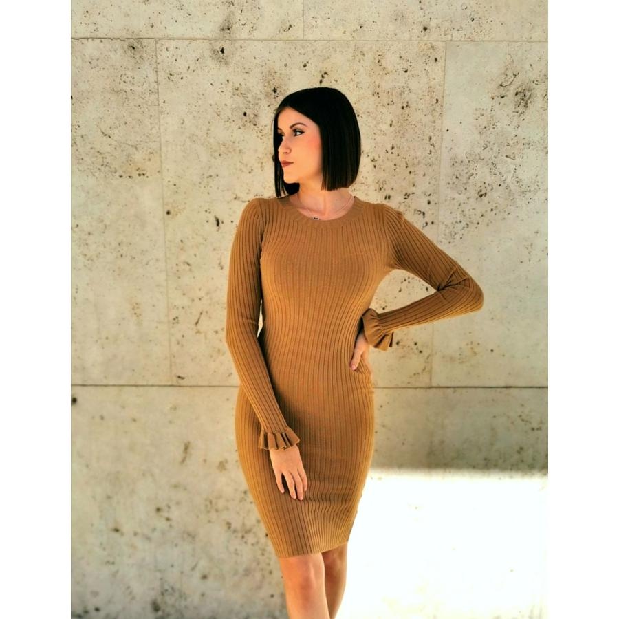 Geneva kötött anyagú ruha - barna
