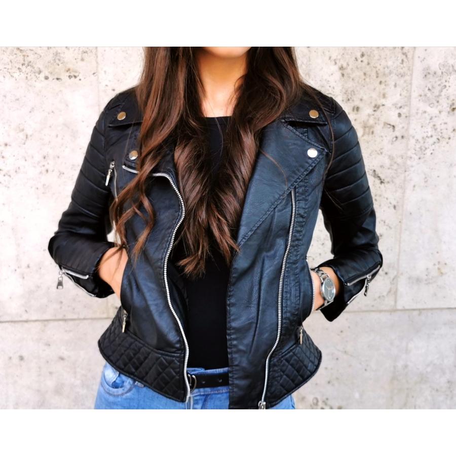 Fekete bőrhatású dzseki