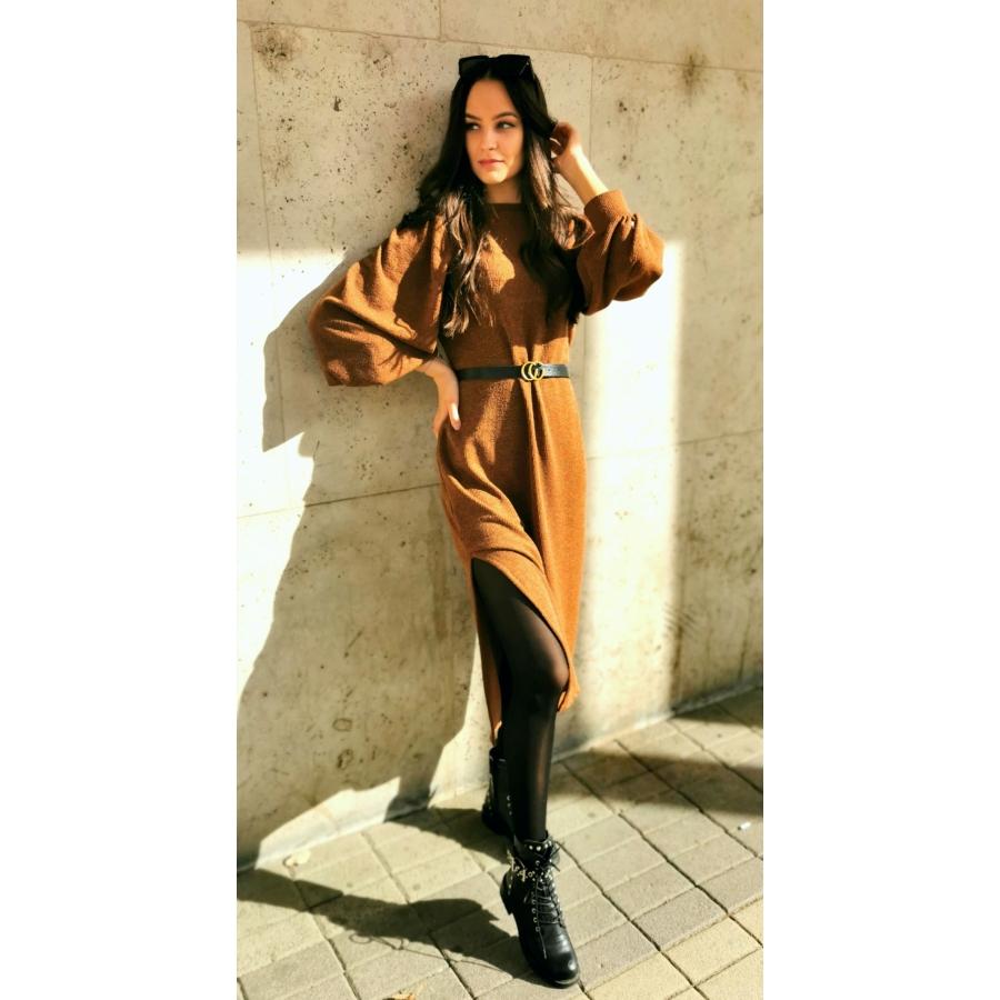 Manhattan kötött ruha - barna