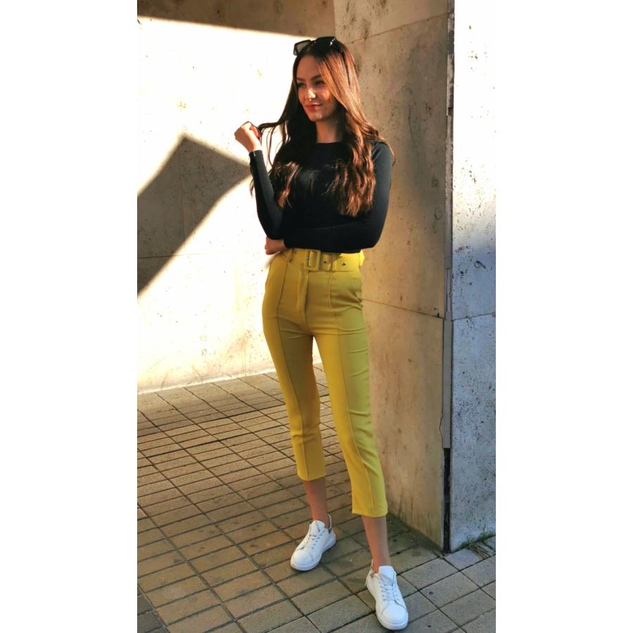 Valencia elasztikus nadrág övvel - sárga