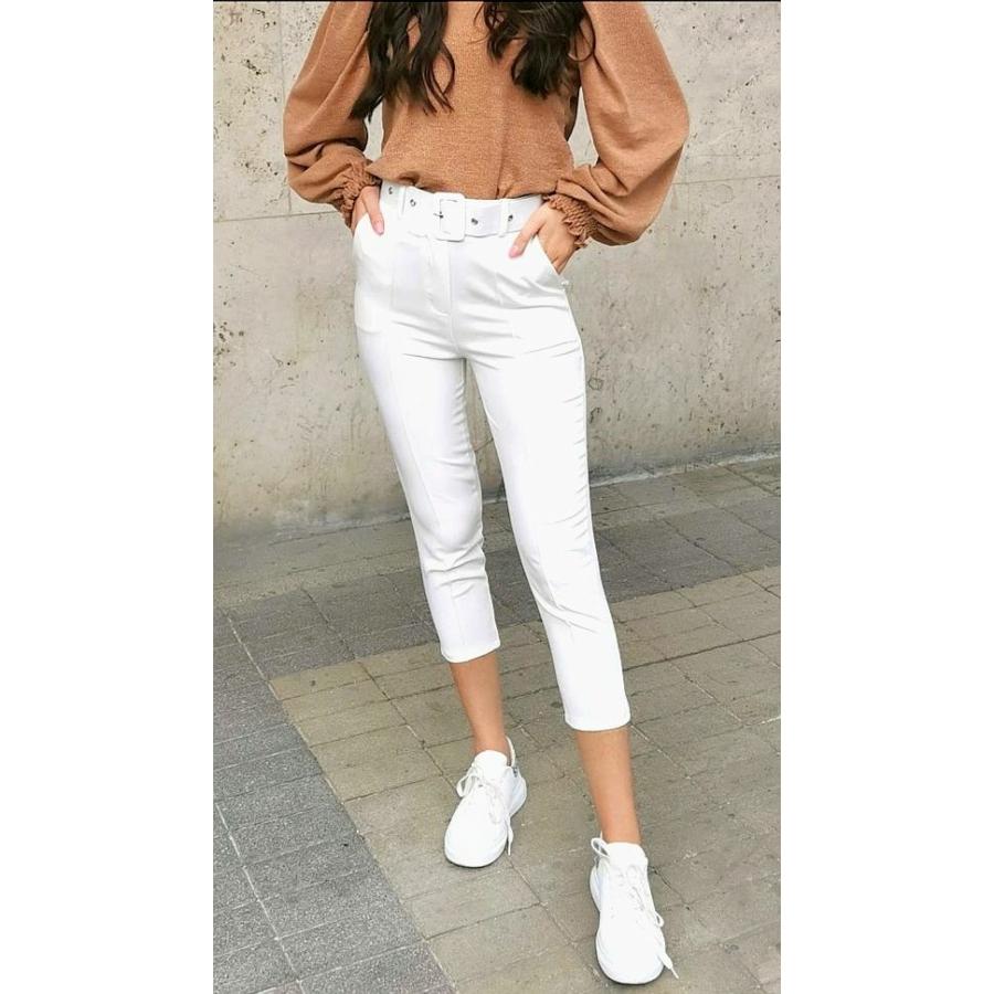 Valencia elasztikus nadrág övvel - fehér
