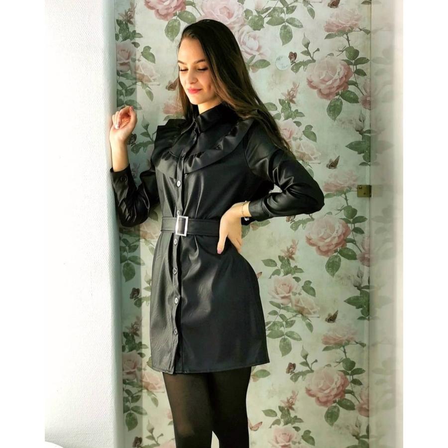 Autumn fodros bőrhatású ruha övvel - fekete