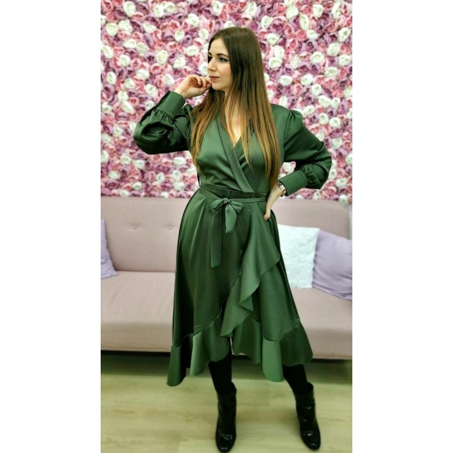 Silk fodros ruha - olivazöld