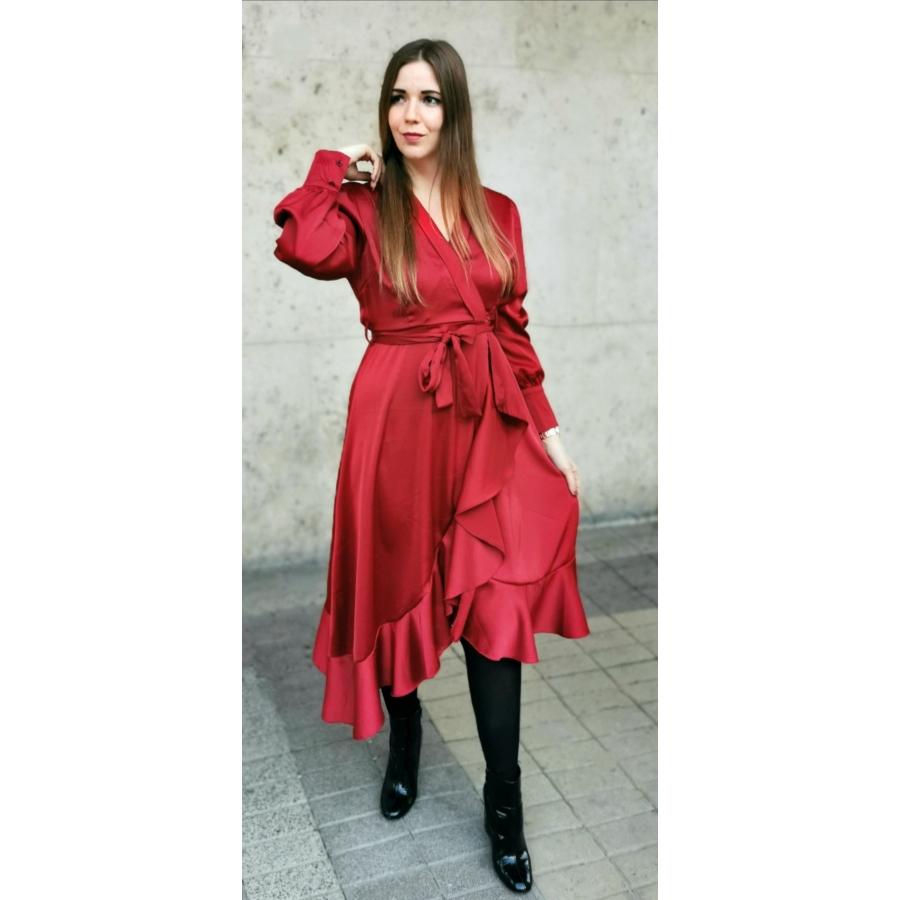 Silk fodros ruha - piros