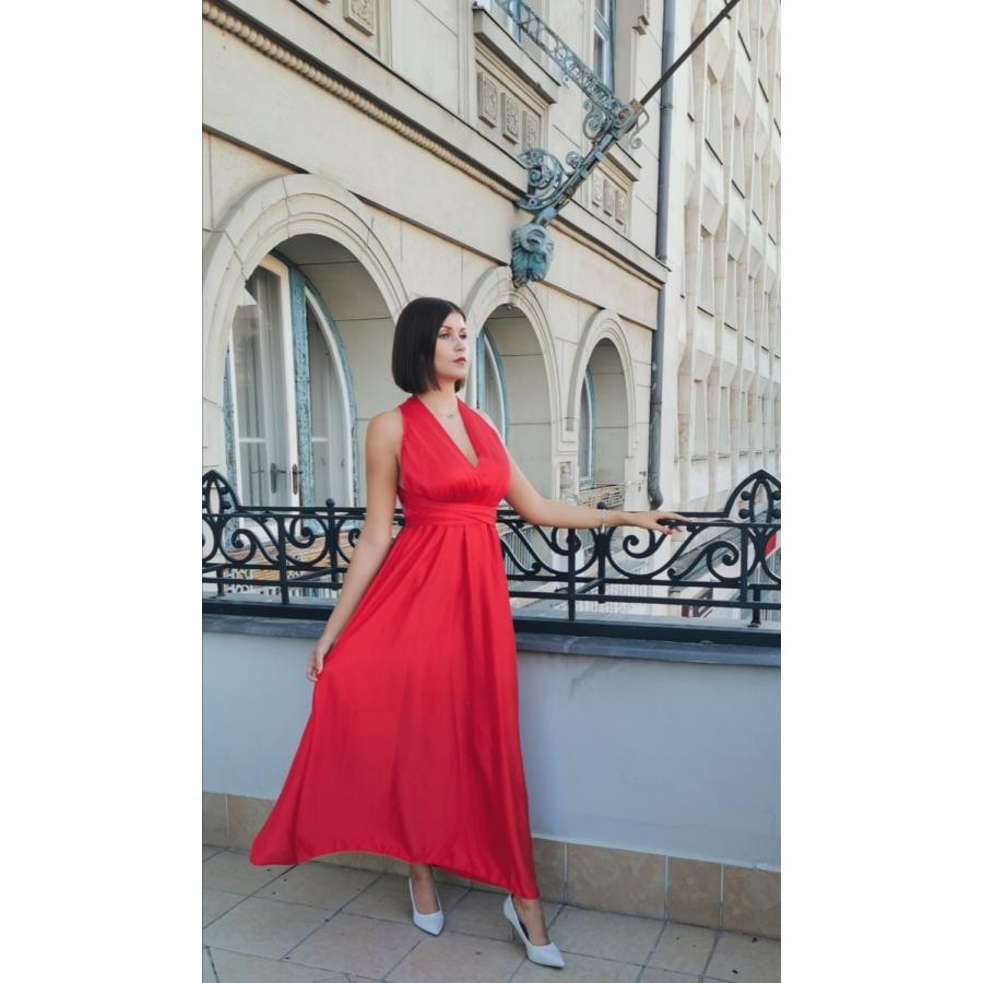 Monaco megkötős ruha - piros