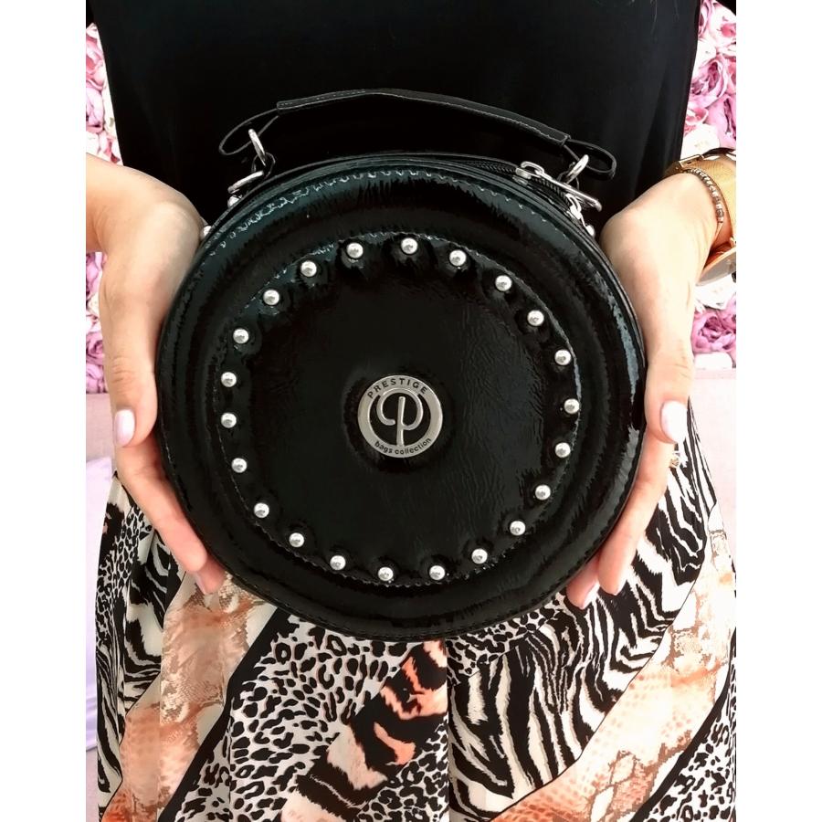 Prestige kör alakú táska - fekete