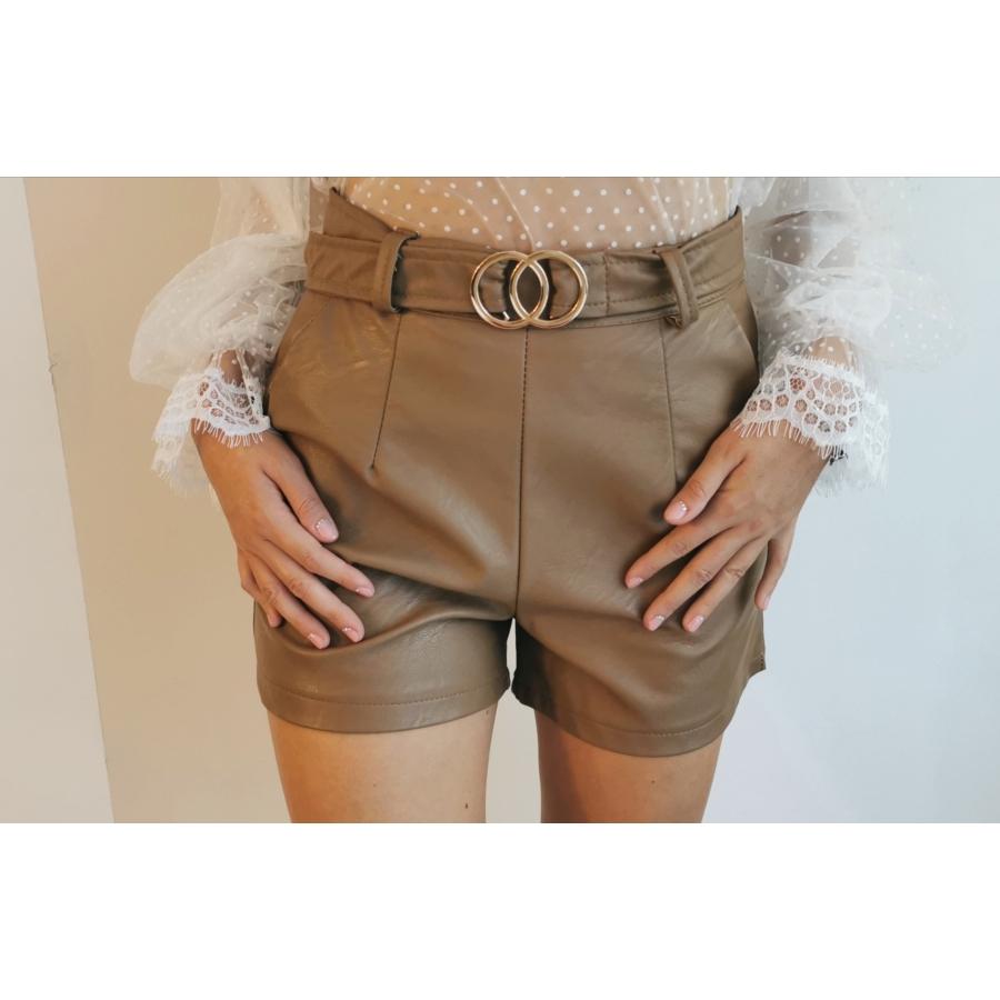 Bőrhatású rövidnadrág - barna